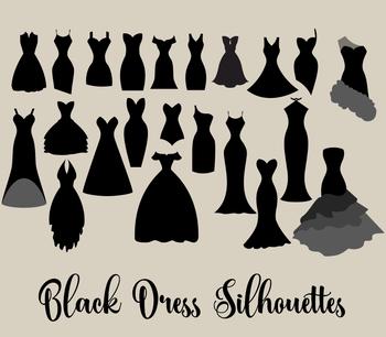 Black Dress Silhouettes clipart, vector fashion wedding clip art