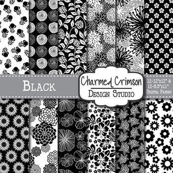 Black Floral Digital Paper 1111