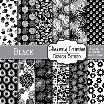 Black Floral Digital Paper 1111