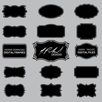 Black Frame Digital Clip Art Set