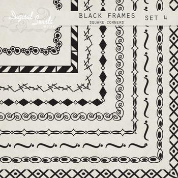Black Frames Set 4 - Square Corners