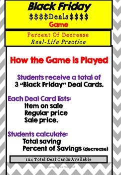Black Friday Deals Game - Percent of Decrease Real Life Activity