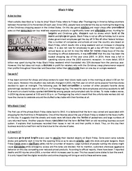 Black Friday- Reading Comprehension Worksheet/ Vocabulary Worksheet