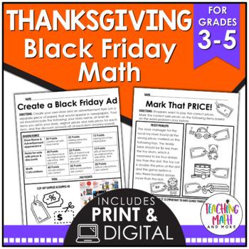 Black Friday & Thanksgiving Elementary Math Activities