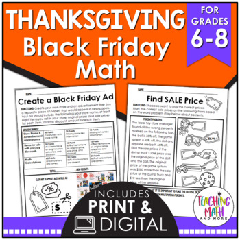 Black Friday & Thanksgiving Middle School Math Activities