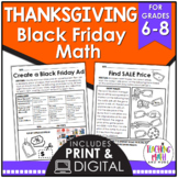 Black Friday Math Activities | Thanksgiving Math Activities Middle School
