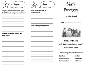 Black Frontiers Trifold - Reading Street 6th Grade Unit 4 Week 3