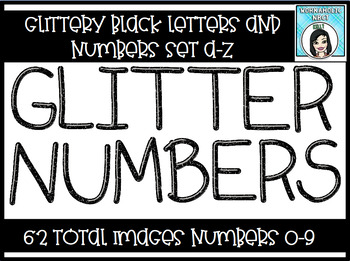 Black Glitter Alphabet Letters and Numbers Set - 62 Images!