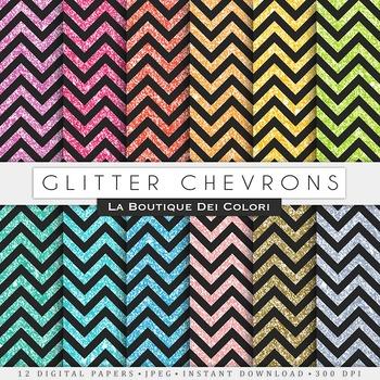 Black Glitter Chevron Digital Paper, scrapbook backgrounds