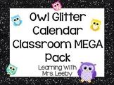 Classroom Jobs and more! Black Glitter Owl Calendar + Classroom Theme Mega Pack