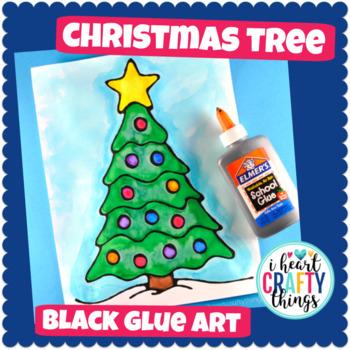 Black Glue Christmas Art Project