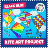Black Glue & Watercolor Kite Art Project -Spring Art Activity