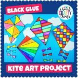Black Glue & Watercolor Kite Art Project -Spring Art Activity