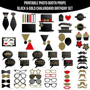 Black Gold Chalkboard Birthday Printable Photo Booth Prop Set Tpt