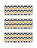 Black/Gold Chevron Labels