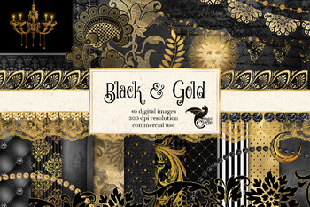 Black & Gold Digital Scrapbooking Kit
