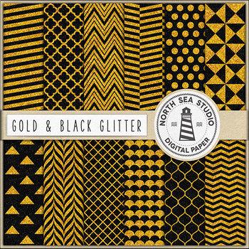Black & Gold Glitter Digital Paper, Gold Patterns, Black Backgrounds