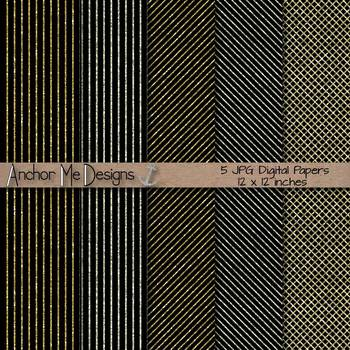Black, Gold & Silver Striped Glitter Digital Paper