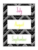 Black, Gray, and White Chevron 12 Month Calendar Cards
