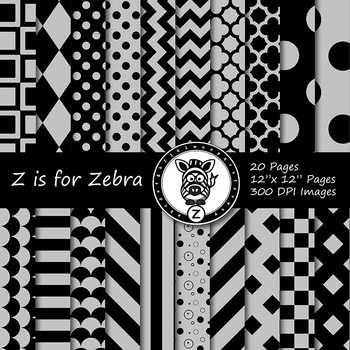 Black / Grey dual tone Digital Paper Pack  - Commercial Use ok { ZisforZebra}