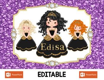 Black Hair Princess Digital Placemats - Editable -