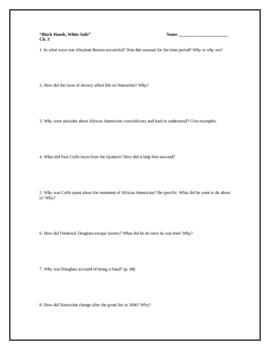 Black Hands, White Sails, by P. McKissack, Comp. Questions