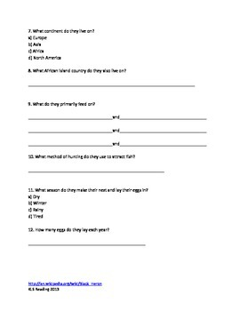 Black Heron - review article facts questions vocabulary word search