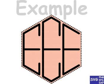 Black Hexagon Monogram Alphabet CLIP ART letters school frame svg fonts cut -65S