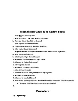 Black History 1915-1945 Assessment (Test)