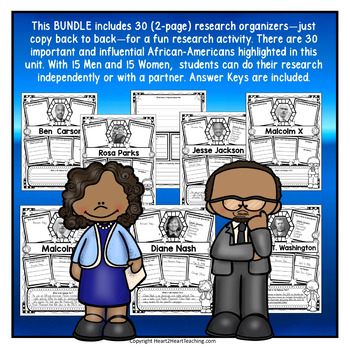 Black History Month Research Organizers Bundle with Answer Keys (30)