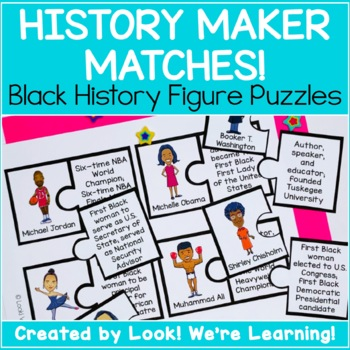 Black History Activities: History Maker Matches! Black History Figure Puzzles