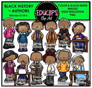 Black History ~ Authors Clip Art Set {Educlips Clipart}