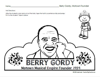 Black History: Berry Gordy Motown Founder Hat & Writing Paper 2nd Grade