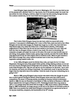 Black History: Biography Musician DUKE ELLINGTON 14 Comprehension, Vocabulary Qs
