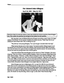 Black History: Biography Musician DUKE ELLINGTON 14 Comprehension, Vocabulary Qs