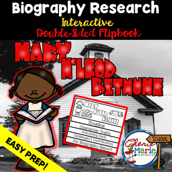 Black History Biography Research Report Flipbbook Mary McLeod Bethune
