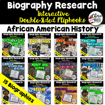 Black History Research Report Project Biography Flipbook BUNDLE