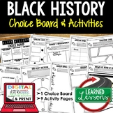 Black History Month Activities, Choice Board, Print and Digital for Google