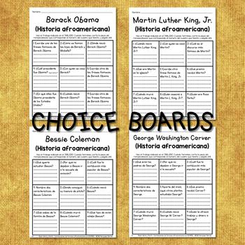 Black History Choice Board Contribuciones de Famosos Afroamericanos EN ESPAÑOL