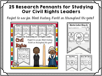 Black History Month Activities: Research Pennants for Civil Rights Leaders