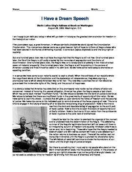 Black History Civil Rights ML King I Have a Dream Reading Questions
