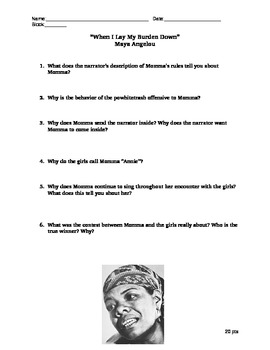 Black History Civil Rights Maya Angelou Burden Reading Questions