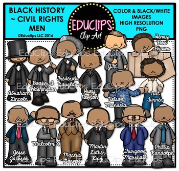 Black History ~ Civil Rights Men Clip Art Bundle {Educlips Clipart}