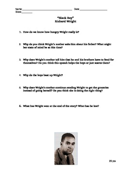 """Black History Richard Wright's """"Streets of Memphis"""" Reading Questions"""