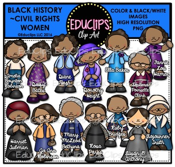 Black History ~ Civil Rights Women Clip Art Bundle {Educlips Clipart}