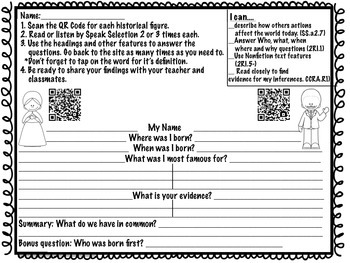 Martin Luther King & Harriet Tubman QR Code Web Quest