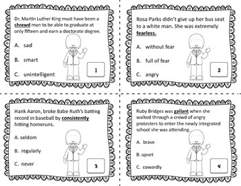 Black History Context Clues Task Cards: Common Core Aligned