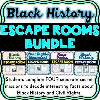 Black History ESCAPE ROOMS BUNDLE: Rosa Parks, MLK, Civil Rights Movement