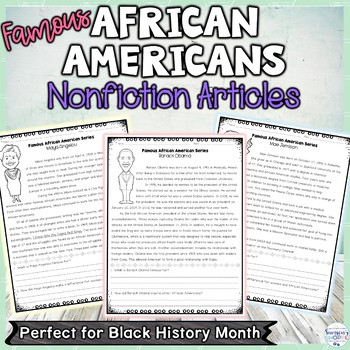 Black History Famous African Americans Nonfiction Reading Worksheets