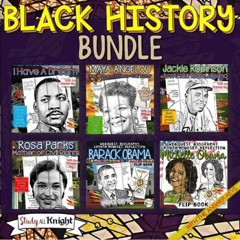 BLACK HISTORY BIOGRAPHIES, WEB QUESTS, FACTS FLIP BOOKS BUNDLE